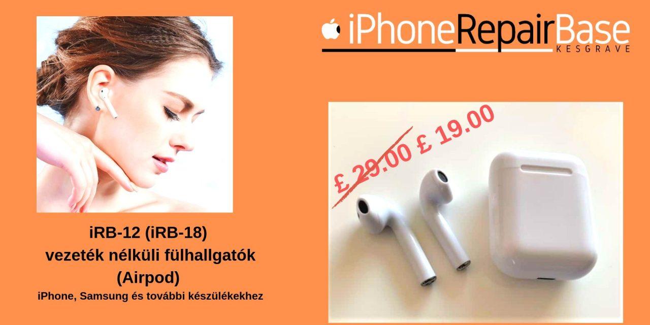 iRB-12 (iRB-18) vezeték nélküli fülhallgatók (Airpod) iPhone, Samsung… készülékekhez